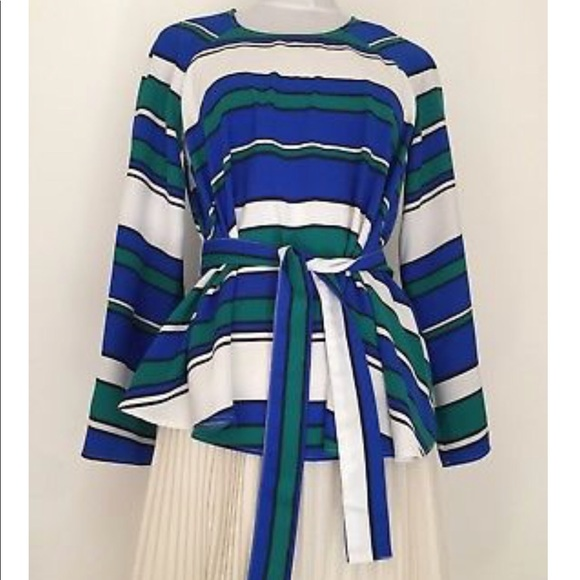 c104dd8762a8 H&M Tops | Jewel Toned Striped Belted Mod Swing Blouse | Poshmark